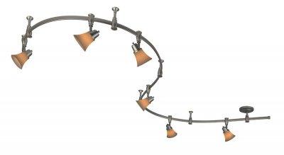 Citilux Трек CL560261 Трековый светильникСветильники для трека<br><br><br>S освещ. до, м2: до 24<br>Тип лампы: накал-я - энергосбер-я<br>Тип цоколя: E14<br>Количество ламп: 6<br>MAX мощность ламп, Вт: 60<br>Размеры: Трековая система 220V на гибкой шине длиной 300см, в комплекте 6 стоек крепления шины и 6 головок, размер головки 12см, лампы Е14 или R50, Белое стекло и современный дизайн<br>Длина, мм: 3000<br>Оттенок (цвет): белый<br>Цвет арматуры: серебристый