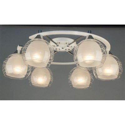 Citilux Буги CL157161 Люстра потолочнаяПотолочные<br><br><br>Установка на натяжной потолок: Ограничено<br>S освещ. до, м2: 30<br>Крепление: Планка<br>Тип товара: Люстра потолочная<br>Тип лампы: накаливания / энергосбережения / LED-светодиодная<br>Тип цоколя: E27<br>Количество ламп: 6<br>Ширина, мм: 540<br>MAX мощность ламп, Вт: 75<br>Размеры: Габариты 66,5х53,5 см, высота 19,5 см.<br>Длина, мм: 660<br>Высота, мм: 200<br>Поверхность арматуры: глянцевый<br>Оттенок (цвет): белый<br>Цвет арматуры: белый