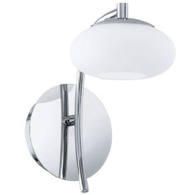 Eglo ALEANDRO 91754 Настенно-потолочный светильникСовременные<br>Австрийское качество модели светильника Eglo 91754 не оставит равнодушным каждого купившего! Матовое закаленное стекло (пр-во Чехия), Хромированное основание, С выключателем, Класс изоляции 2 (плоская вилка, двойная изоляция от вилки до лампы), IP 20, Экологически безопасные технологии, освещенность 480 lm ,L=120Н=210,1X6W,LED.<br><br>S освещ. до, м2: 2<br>Крепление: настенное<br>Цветовая t, К: 3000 (теплый белый)<br>Тип цоколя: LED<br>Количество ламп: 1<br>MAX мощность ламп, Вт: 29<br>Размеры основания, мм: 0<br>Длина, мм: 120<br>Расстояние от стены, мм: 195<br>Высота, мм: 210<br>Оттенок (цвет): белый<br>Цвет арматуры: серебристый<br>Общая мощность, Вт: 1X6W