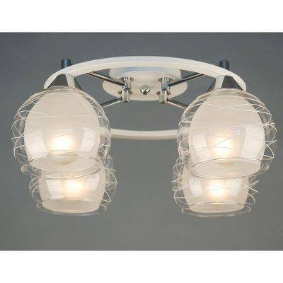 Citilux Буги CL157141 Люстра потолочнаяПотолочные<br><br><br>Установка на натяжной потолок: Ограничено<br>S освещ. до, м2: 20<br>Крепление: Планка<br>Тип товара: Люстра потолочная<br>Тип лампы: накаливания / энергосбережения / LED-светодиодная<br>Тип цоколя: E27<br>Количество ламп: 4<br>MAX мощность ламп, Вт: 75<br>Диаметр, мм мм: 400<br>Размеры: Габариты 40х39,5 см, высота 19,5 см.<br>Высота, мм: 200<br>Поверхность арматуры: глянцевый<br>Оттенок (цвет): белый<br>Цвет арматуры: белый