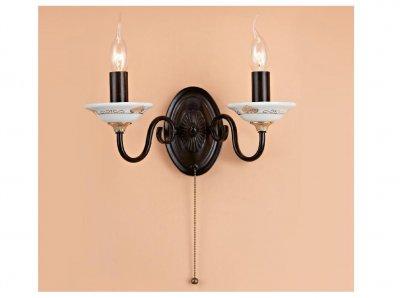 Citilux Родос CL414321 Светильник настенный браКлассика<br><br><br>S освещ. до, м2: 8<br>Тип лампы: накаливания / энергосбережения / LED-светодиодная<br>Тип цоколя: E14<br>Количество ламп: 2<br>Ширина, мм: 330<br>MAX мощность ламп, Вт: 60<br>Размеры: Высота 22см, Ширина 33см, Глубина 16см, Декоративные чашки - фарфор с узором<br>Высота, мм: 220<br>Поверхность арматуры: матовый, рельефный<br>Цвет арматуры: коричневый