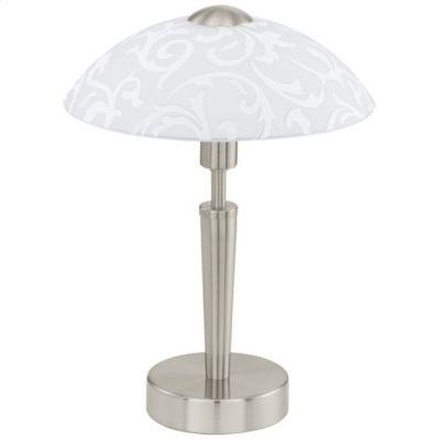 Eglo SOLO 91238 Настольная лампаДекоративные<br>Австрийское качество модели светильника Eglo 91238 не оставит равнодушным каждого купившего! Основание матовая никилерованная сталь, матовое опаловое стекло белого цвета, Класс изоляции 2 (плоская вилка, двойная изоляция от вилки до лампы), сенсорный выключатель, IP 20, освещенность 860 lm Н=320,D=265.<br><br>S освещ. до, м2: 4<br>Тип цоколя: E14<br>Цвет арматуры: серый<br>Количество ламп: 1<br>Диаметр, мм мм: 265<br>Размеры основания, мм: 130<br>Высота, мм: 320<br>Оттенок (цвет): белый с декором<br>MAX мощность ламп, Вт: 2<br>Общая мощность, Вт: 1X60W