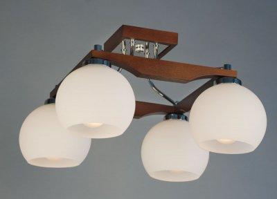Citilux Ариста CL164341 Люстра потолочнаяПотолочные<br><br><br>Установка на натяжной потолок: Да<br>S освещ. до, м2: 20<br>Крепление: Планка<br>Тип товара: Люстра потолочная<br>Тип лампы: накаливания / энергосбережения / LED-светодиодная<br>Тип цоколя: E27<br>Количество ламп: 4<br>Ширина, мм: 420<br>MAX мощность ламп, Вт: 75<br>Размеры: Высота 25см, Габариты 42х42см, Массив дерева, Выдувное молочнобелое стеклоЗапасное стекло<br>Длина, мм: 420<br>Высота, мм: 250<br>Поверхность арматуры: глянцевый, матовый<br>Оттенок (цвет): белый<br>Цвет арматуры: коричневый