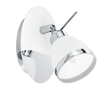 Eglo ROSELLO 91967 Светильник поворотный спотОдиночные<br>Австрийское качество модели светильника Eglo 91967 не оставит равнодушным каждого купившего! Закаленное белое стекло с хромированным обрамлением (пр-во Чехия) , основание хромированная сталь с белами вставками, Класс изоляции 2 (двойная изоляция от вилки до лампы), с выключателем, IP 20, освещенность 470 lm ,L=95H=140,1X33W,G9.<br><br>S освещ. до, м2: 2<br>Крепление: настенное<br>Тип лампы: галогенная / LED-светодиодная<br>Тип цоколя: G9<br>Количество ламп: 1<br>MAX мощность ламп, Вт: 33<br>Длина, мм: 95<br>Высота, мм: 140<br>Цвет арматуры: белый