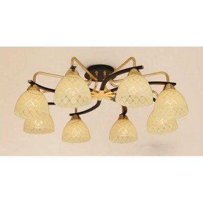 Citilux Кристи CL152282 Люстра потолочнаяПотолочные<br><br><br>Установка на натяжной потолок: Ограничено<br>S освещ. до, м2: 40<br>Крепление: Планка<br>Тип товара: Люстра потолочная<br>Тип лампы: накаливания / энергосбережения / LED-светодиодная<br>Тип цоколя: E27<br>Количество ламп: 8<br>MAX мощность ламп, Вт: 75<br>Диаметр, мм мм: 720<br>Размеры: Диаметр 72см, Высота 24см, Стекло с алмазной нарезкой<br>Высота, мм: 240<br>Поверхность арматуры: глянцевый<br>Оттенок (цвет): бежевый<br>Цвет арматуры: черный