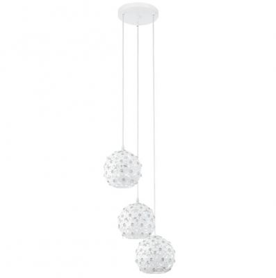 Eglo HANIFA 92285 Светильник подвеснойТройные<br>Австрийское качество модели светильника Eglo 92285 не оставит равнодушным каждого купившего! Стальной корпус с защитным покрытием белого цвета, алюминевый ажурный орнамент в виде цветков со вставкми хрусталя, Класс изоляции 2 (двойная изоляция), IP 20, освещенность 2418 lm ,Н=1100D=200,3X60W,E27.<br><br>S освещ. до, м2: 9<br>Крепление: потолочное<br>Тип лампы: накаливания / энергосбережения / LED-светодиодная<br>Тип цоколя: E27<br>Количество ламп: 3<br>MAX мощность ламп, Вт: 60<br>Диаметр, мм мм: 330<br>Размеры основания, мм: 0<br>Высота, мм: 1300<br>Оттенок (цвет): белый, прозрачный<br>Цвет арматуры: белый<br>Общая мощность, Вт: 3X60W