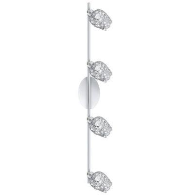 Eglo FIGU 92033 Светильник поворотный спотС 4 лампами<br>Австрийское качество модели светильника Eglo 92033 не оставит равнодушным каждого купившего! Декоративные ажурные плафоны(сталь хром) с вставками из Хрусталя(Египет), Стальной хромированный корпус, Класс изоляции 2(двойная изоляция), IP 20, Экологически безопасные технологии. освещенность 1880 lm , H=95L=780,4X33W,G9.<br><br>S освещ. до, м2: 8<br>Крепление: потолочное<br>Тип цоколя: G9<br>Количество ламп: 4<br>Ширина, мм: 95<br>MAX мощность ламп, Вт: 2<br>Размеры основания, мм: 0<br>Длина, мм: 780<br>Оттенок (цвет): хром, прозрачный<br>Цвет арматуры: серебристый<br>Общая мощность, Вт: 4X33W