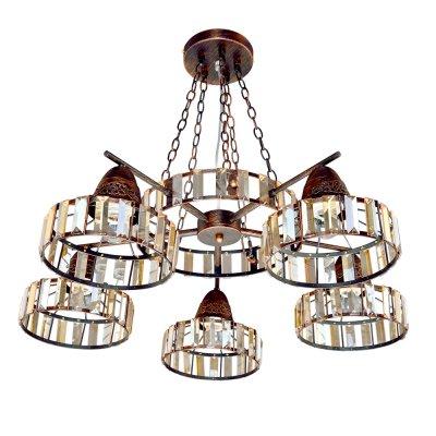 Люстра Ковка 2-4406-5-CF E27 Максисветподвесные кованые люстры<br><br><br>S освещ. до, м2: 15<br>Тип лампы: Накаливания / энергосбережения / светодиодная<br>Тип цоколя: E27<br>Цвет арматуры: Коричневый<br>Количество ламп: 5<br>Ширина, мм: 740<br>Высота полная, мм: 890<br>Длина, мм: 740<br>Поверхность арматуры: патина<br>Оттенок (цвет): коричневый<br>MAX мощность ламп, Вт: 60<br>Общая мощность, Вт: 300
