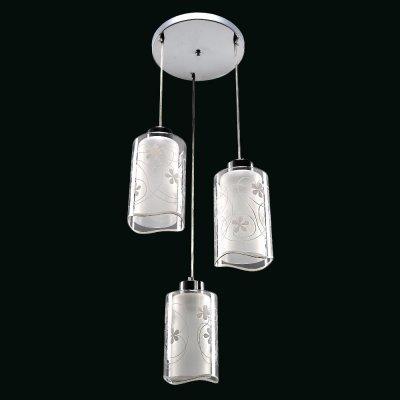Люстра Модерн 2-4945-3-CR E27 МаксисветОжидается<br>Двойной стеклянный плафон с волнистым краем. Цветочный принт плафона. Популярный цвет каркаса блестящий хром.<br>Стилевые решения интерьера: контемпорари.<br>Тип помещения: кухня, столовая, студия.<br><br>S освещ. до, м2: 9<br>Тип цоколя: E27<br>Цвет арматуры: Хром<br>Количество ламп: 3<br>Ширина, мм: 320<br>Высота полная, мм: 950<br>Длина, мм: 320<br>Оттенок (цвет): Белый