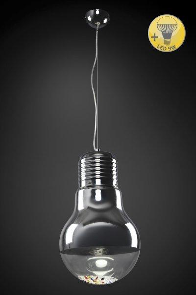 Люстра Модерн 2-5229-1-CR E27 МаксисветОжидается<br>Светильник в стиле Хай-тек подчеркнет индивидуальность интерьера, станет изюминкой любой комнаты.<br><br>Внутри плафона - россыпь разноцветных кристалов, которые при свете лампы создают неповторимый эффект.<br><br>Светодиодная лампа 9W в комплекте.<br><br>S освещ. до, м2: 4<br>Тип цоколя: E27<br>Цвет арматуры: Хром<br>Количество ламп: 1<br>Ширина, мм: 300<br>Высота полная, мм: 1200<br>Длина, мм: 300<br>Оттенок (цвет): Серебро