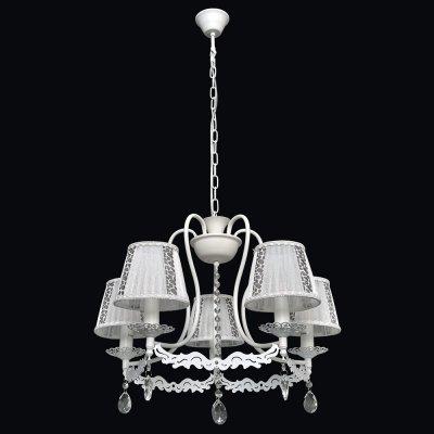 Люстра Текстиль 2-6805-5-WH E14 МаксисветОжидается<br><br><br>S освещ. до, м2: 15<br>Тип цоколя: E14<br>Цвет арматуры: Белый<br>Количество ламп: 5<br>Ширина, мм: 580<br>Высота полная, мм: 1200<br>Длина, мм: 580<br>Оттенок (цвет): Белый, Черный