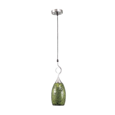 Зеленый подвес 2-9797-1-SY E27 Максисветодиночные подвесные светильники<br><br><br>S освещ. до, м2: 3<br>Тип лампы: Накаливания / энергосбережения / светодиодная<br>Тип цоколя: E27<br>Цвет арматуры: Никель<br>Количество ламп: 1<br>Диаметр, мм мм: 120<br>Высота полная, мм: 800<br>Поверхность арматуры: блестящая<br>Оттенок (цвет): Зеленый<br>MAX мощность ламп, Вт: 60