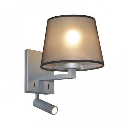 Настенный светильник Favourite 2001-2W Essentiaсовременные бра модерн<br><br><br>Тип лампы: Накаливания / энергосбережения / светодиодная<br>Тип цоколя: E27/LED<br>Цвет арматуры: серый<br>Количество ламп: 2<br>Ширина, мм: 180<br>Диаметр, мм мм: 220<br>Размеры: D220*W180*H290<br>Высота, мм: 290<br>Поверхность арматуры: матовая<br>Оттенок (цвет): серый<br>MAX мощность ламп, Вт: 40/3