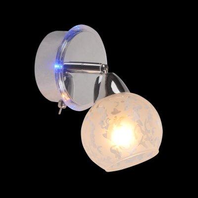 Светильник Idlamp 200/1A ChromeСовременные<br><br><br>S освещ. до, м2: 4<br>Крепление: Настенные<br>Тип цоколя: Е14 + LED Blue<br>Цвет арматуры: серебристый<br>Количество ламп: 1 + LED Blue<br>Ширина, мм: 120<br>Расстояние от стены, мм: 200<br>Высота, мм: 190<br>Оттенок (цвет): Полупрозрачный<br>MAX мощность ламп, Вт: 60