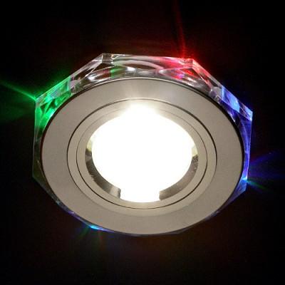 Светильник 2020 CH/ML T хром/мульти ElektrostandardКруглые LED<br>Лампа: MR16 G5.3 max 35 Вт + LED Мощность LED подсветки: 1 Вт Диаметр: #216; 96 мм Высота внутренней части: ? 12 мм Высота внешней части: ? 12 мм Монтажное отверстие: #216; 60 мм Гарантия: 2 года<br><br>S освещ. до, м2: 2<br>Тип лампы: галогенная<br>Тип цоколя: gu5.3<br>MAX мощность ламп, Вт: 50<br>Диаметр, мм мм: 91<br>Диаметр врезного отверстия, мм: 65<br>Оттенок (цвет): разноцветный<br>Цвет арматуры: серебристый