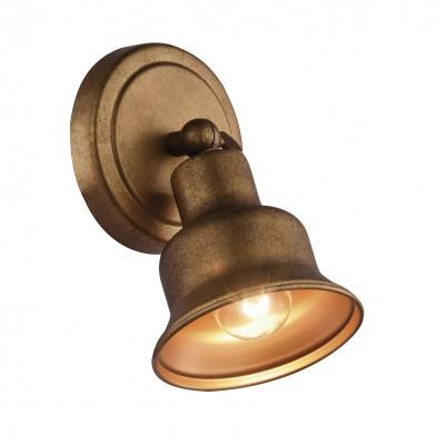 Настенный светильник Favourite 2024-1W Clochetteодиночные споты<br><br><br>Тип лампы: Накаливания / энергосбережения / светодиодная<br>Тип цоколя: E27<br>Цвет арматуры: золото<br>Количество ламп: 1<br>Ширина, мм: 120<br>Диаметр, мм мм: 180<br>Размеры: D180*W120*H180<br>Высота, мм: 180<br>Поверхность арматуры: матовая<br>Оттенок (цвет): золотой<br>MAX мощность ламп, Вт: 60