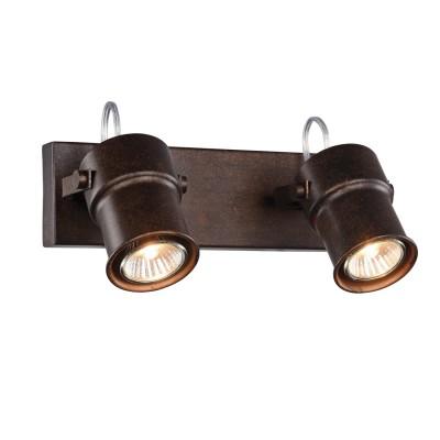 Спот Favourite 2025-2W Arcuдвойные светильники споты<br><br><br>Тип цоколя: GU10<br>Цвет арматуры: коричневый<br>Количество ламп: 2<br>Ширина, мм: 265<br>Диаметр, мм мм: 165<br>Размеры: D165*W265*H125<br>Высота, мм: 125<br>MAX мощность ламп, Вт: 5