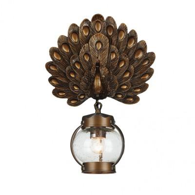 Настенный светильник Favourite 2032-1W HuntУличные настенные светильники<br><br><br>Тип лампы: Накаливания / энергосбережения / светодиодная<br>Тип цоколя: E27<br>Цвет арматуры: коричневый<br>Количество ламп: 1<br>Ширина, мм: 340<br>Диаметр, мм мм: 180<br>Размеры: D180*W340*H490<br>Высота, мм: 490<br>Поверхность арматуры: матовая<br>Оттенок (цвет): коричневый<br>MAX мощность ламп, Вт: 60