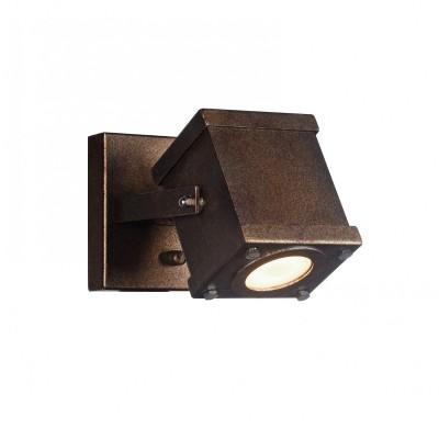 Настенный светильник Favourite 2037-1W Focoодиночные споты<br><br><br>Тип лампы: галогенная/LED - светодиодная<br>Тип цоколя: GU10<br>Цвет арматуры: коричневый<br>Количество ламп: 1<br>Ширина, мм: 130<br>Диаметр, мм мм: 200<br>Размеры: D200*W130*H136<br>Высота, мм: 136<br>Поверхность арматуры: состаренная<br>Оттенок (цвет): коричневый<br>MAX мощность ламп, Вт: 5