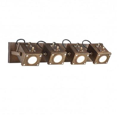 Настенный светильник спот Favourite 2037-4W Focoспоты 4 лампы<br><br><br>Тип лампы: галогенная/LED - светодиодная<br>Тип цоколя: GU10<br>Цвет арматуры: коричневый<br>Количество ламп: 4<br>Ширина, мм: 610<br>Диаметр, мм мм: 200<br>Размеры: D200*W610*H136<br>Высота, мм: 136<br>Поверхность арматуры: состаренная<br>Оттенок (цвет): коричневый<br>MAX мощность ламп, Вт: 5<br>Общая мощность, Вт: 20