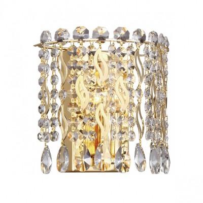 Настенный светильник Favourite 2048-1W Celebrityхрустальные бра<br><br><br>Тип лампы: Накаливания / энергосбережения / светодиодная<br>Тип цоколя: E14<br>Цвет арматуры: золото<br>Количество ламп: 1<br>Ширина, мм: 205<br>Диаметр, мм мм: 115<br>Размеры: D115*W205*H200<br>Высота, мм: 200<br>Поверхность арматуры: блестящая<br>Оттенок (цвет): золотой<br>MAX мощность ламп, Вт: 40