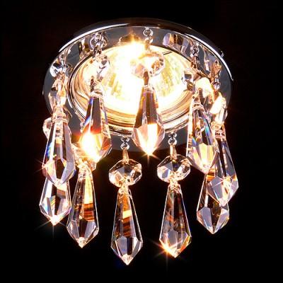 Светильник Электростандарт точечный с хрусталем Asfour 2056 CH хромхрустальные встраиваемые светильники<br>