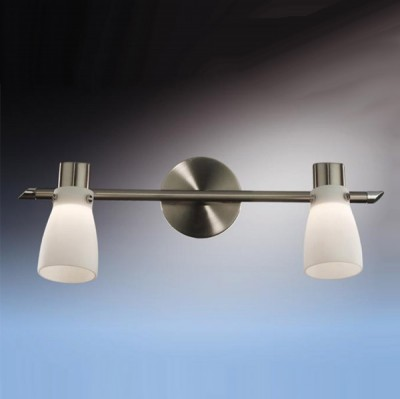 Светильник Odeon light 2066/2W Terza никельДвойные<br>Допускается установка светильника на вертикальную поверхность - стену и горизонтальную поверхность - потолок.<br><br>S освещ. до, м2: 5<br>Тип лампы: галогенная / LED-светодиодная<br>Тип цоколя: G9<br>Количество ламп: 2<br>Ширина, мм: 405<br>MAX мощность ламп, Вт: 40<br>Расстояние от стены, мм: 145<br>Высота, мм: 145<br>Цвет арматуры: серый