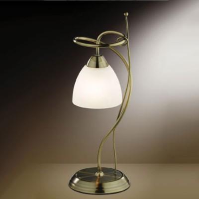 Настольная лампа Odeon light 2120/1T Kaena бронзаКлассические<br>Оригинальная настольная лампа для творческих и разносторонних натур! Итальянские мастера превратили металлическую арматуру в нить, и сделали из нее затейливый рисунок. На контрасте с этим рисунком простой белый плафон в форме колокольчика, что уравновешивает лампу и делает каждую ее деталь гармоничной и изящной. Освещение, создаваемое лампой, мягкое и комфортное для зрения.<br><br>S освещ. до, м2: 4<br>Тип лампы: накал-я - энергосбер-я<br>Тип цоколя: E14<br>Цвет арматуры: бронзовый<br>Количество ламп: 1<br>Диаметр, мм мм: 160<br>Высота, мм: 420<br>MAX мощность ламп, Вт: 60
