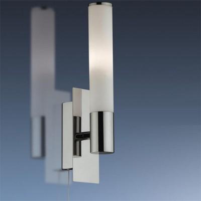 Светильник Odeon Light 2139/1W Vell хром IP44 с выклМодерн<br>Используются силиконовые уплотнители для защиты от воды<br><br>S освещ. до, м2: 2<br>Тип лампы: галогенная / LED-светодиодная<br>Тип цоколя: G9<br>Количество ламп: 1<br>Ширина, мм: 55<br>MAX мощность ламп, Вт: 40<br>Расстояние от стены, мм: 75<br>Высота, мм: 240<br>Оттенок (цвет): белый<br>Цвет арматуры: серебристый