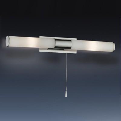 Светильник Odeon Light 2139/2W Vell хром IP44 с выклДля ванной<br>Используются силиконовые уплотнители для защиты от воды<br><br>S освещ. до, м2: 5<br>Тип лампы: галогенная / LED-светодиодная<br>Тип цоколя: G9<br>Цвет арматуры: серебристый<br>Количество ламп: 2<br>Ширина, мм: 420<br>Расстояние от стены, мм: 75<br>Высота, мм: 55<br>Оттенок (цвет): белый<br>MAX мощность ламп, Вт: 40
