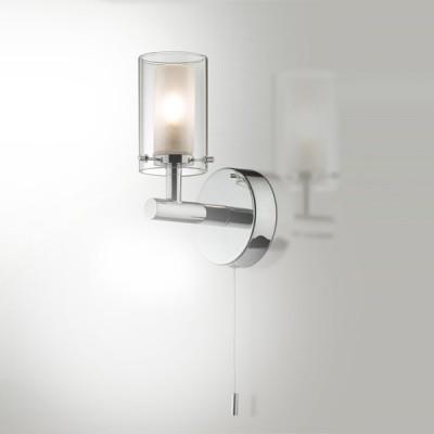 Светильник Odeon Light 2140/1W Tesco хром IP44 с выклСовременные<br>Используются силиконовые уплотнители для защиты от воды<br><br>S освещ. до, м2: 2<br>Тип лампы: галогенная / LED-светодиодная<br>Тип цоколя: G9<br>Количество ламп: 1<br>Ширина, мм: 80<br>MAX мощность ламп, Вт: 40<br>Расстояние от стены, мм: 115<br>Высота, мм: 180<br>Оттенок (цвет): белый<br>Цвет арматуры: серебристый