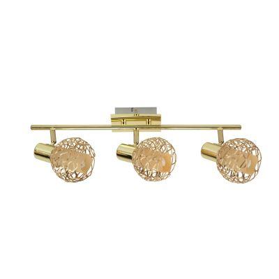 Светильник Colosseo 21408/3Тройные<br>Тройной светильник спот Colosseo 21408/3 гармоничен в своём сочетании изысканной эстетики и функциональности! Изысканный плафон выполнен в стиле мягкого плетения из металлических нитей, а сама конструкция отливает благородным золотым блеском. Это прекрасное приобретение для дома или офиса, будь то спальная, гостиная, прихожая, кухня, лоджия или кабинет. Особая функциональность светильника Colosseo 21408/3 представлена в возможности направлять свет в трёх разных вариациях. Это позволит Вам не только выигрышно подчёркивать сияние и тени в дизайне, но и выбирать вектор полезности для решения практических задач. Перед Вами особенный элемент декора и приятных функциональных возможностей!<br><br>S освещ. до, м2: 13<br>Крепление: планка<br>Тип лампы: накал-я - энергосбер-я<br>Тип цоколя: E14<br>Количество ламп: 3<br>Ширина, мм: 620<br>MAX мощность ламп, Вт: 40<br>Расстояние от стены, мм: 170<br>Высота, мм: 80<br>Цвет арматуры: золотой