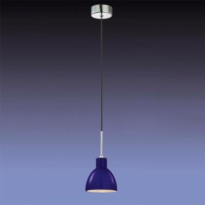 Светильник Odeon light 2161/1 Tio хром/синийОдиночные<br><br><br>S освещ. до, м2: 4<br>Тип товара: Светильник подвесной<br>Тип лампы: накаливания / энергосбережения / LED-светодиодная<br>Тип цоколя: E14<br>Количество ламп: 1<br>MAX мощность ламп, Вт: 60<br>Диаметр, мм мм: 115<br>Высота, мм: 250-1100<br>Цвет арматуры: синий