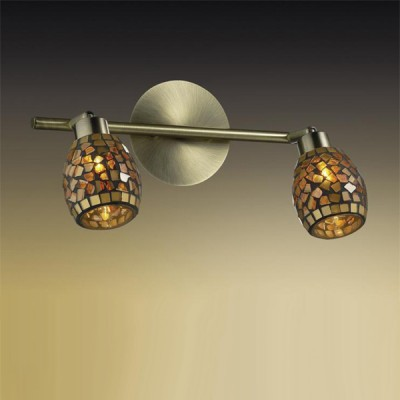 Светильник Odeon light 2167/2W Glosse бронзаДвойные<br><br><br>S освещ. до, м2: 5<br>Тип товара: Светильник поворотный спот<br>Тип лампы: галогенная / LED-светодиодная<br>Тип цоколя: G9<br>Количество ламп: 2<br>Ширина, мм: 325<br>MAX мощность ламп, Вт: 40<br>Расстояние от стены, мм: 190<br>Высота, мм: 190<br>Цвет арматуры: желтый