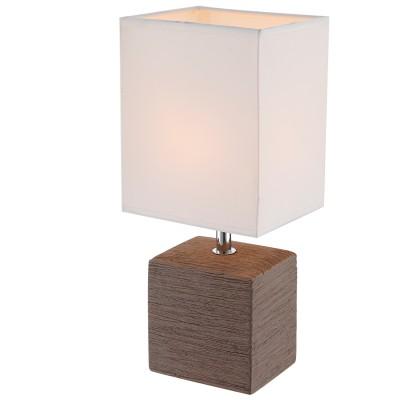 Лампа настольная Globo 21677Коричневые<br>Настольная лампа – это не просто источник дополнительного освещения, но и оригинальный элемент декора. Его можно установить в спальне, гостиной, кабинете и других комнатах. Интернет-магазин «Светодом» предлагает настольные лампы разных стилей по доступным ценам. Благодаря большому ассортименту Вы обязательно найдете в нашем каталоге именно ту модель, которую искали.   Настольная лампа Globo 21677 – прекрасный вариант для завершения интерьера. Ее можно включить одновременно с люстрой для более яркого освещения или без нее для создания уютной атмосферы, настраивающей на отдых.   Купить настольную лампу Globo 21677 Вы можете с помощью виртуальной «Корзины» или по контактным номерам, указанным на сайте.<br><br>Тип лампы: Накаливания / энергосбережения / светодиодная<br>Тип цоколя: E14<br>Цвет арматуры: коричневый<br>Количество ламп: 1<br>Ширина, мм: 130<br>Длина, мм: 110<br>Высота, мм: 290<br>MAX мощность ламп, Вт: 40