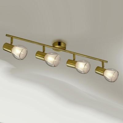 Светильник Odeon light 2176/4W Moss мат золотоС 4 лампами<br>Допускается установка светильника на вертикальную поверхность - стену и горизонтальную поверхность - потолок.<br><br>S освещ. до, м2: 10<br>Тип товара: Светильник поворотный спот<br>Тип лампы: накал-я - энергосбер-я<br>Тип цоколя: E14<br>Количество ламп: 4<br>Ширина, мм: 675<br>MAX мощность ламп, Вт: 40<br>Высота, мм: 175<br>Цвет арматуры: бронзовый