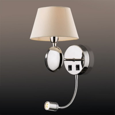 Светильник Odeon Light 2195/1A хром Hotelклассические бра<br><br><br>S освещ. до, м2: 2<br>Тип лампы: накаливания / энергосбережения / LED-светодиодная<br>Тип цоколя: E14, LED<br>Цвет арматуры: серебристый<br>Количество ламп: 1<br>Ширина, мм: 200<br>Высота, мм: 244<br>MAX мощность ламп, Вт: 40