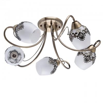 Светильник De Markt 220011105Потолочные<br>220011105 - это Оригинальный потолочный светильник из коллекции «Вита» станет изящным украшением интерьера. Основание из металла цвета античной бронзы дополнено округлыми плафонами из матового стекла. В сочетании с необычным рожками и декоративными металлическими элементами в растительной стилистике, обрамляющими плафоны, люстра выглядит особенно эффектно.<br><br>S освещ. до, м2: 10<br>Тип товара: Люстра<br>Тип лампы: накаливания / энергосбережения / LED-светодиодная<br>Тип цоколя: E14<br>Количество ламп: 5<br>MAX мощность ламп, Вт: 40<br>Диаметр, мм мм: 560<br>Высота, мм: 220