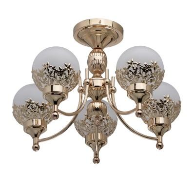 DeMarkt Вита 220011205 ЛюстраПотолочные<br><br><br>S освещ. до, м2: 10<br>Тип лампы: Накаливания / энергосбережения / светодиодная<br>Тип цоколя: E14<br>Количество ламп: 5<br>MAX мощность ламп, Вт: 40<br>Диаметр, мм мм: 560<br>Высота, мм: 370
