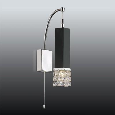 Светильник Odeon Light 2206/1W хром AllenХрустальные<br><br><br>S освещ. до, м2: 2<br>Тип лампы: галогенная / LED-светодиодная<br>Тип цоколя: G9<br>Количество ламп: 1<br>Ширина, мм: 120<br>MAX мощность ламп, Вт: 40<br>Высота, мм: 350<br>Цвет арматуры: черный