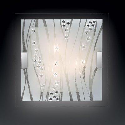 Светильник Сонекс 2227 Kadia белый/хрустальНакладные<br><br><br>S освещ. до, м2: 8<br>Тип лампы: накаливания / энергосбережения / LED-светодиодная<br>Тип цоколя: E27<br>Количество ламп: 2<br>Ширина, мм: 400<br>MAX мощность ламп, Вт: 60<br>Длина, мм: 400<br>Цвет арматуры: серебристый