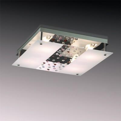 Светильник Odeon Light 2245/4C хром CandyКвадратные<br>Сочетание матового стекла, зеркальной поверхности и разноцветного хрусталя делает настенно-потолочный светильник Odeon Light 2245/4C чрезвычайно притягательным. Он выполнен в безупречном стиле модерн и обладает дельным функциональным наполнением. К примеру, имеет возможность крепления, как на горизонтальные, так и вертикальные поверхности. Это выгодно и удобно при комбинированном декорировании помещения, когда требуется несколько источников света единой концепции. Ко всему прочему, разноцветный хрусталь, отражающийся в зеркальных квадратах светильника Odeon Light 2245/4C, создаёт притягательную игру цветового мерцания, что не останется не замеченным ни единым наблюдателем.<br><br>S освещ. до, м2: 10<br>Крепление: планка<br>Тип лампы: галогенная / LED-светодиодная<br>Тип цоколя: G9<br>Количество ламп: 4<br>MAX мощность ламп, Вт: 40<br>Диаметр, мм мм: 470<br>Высота, мм: 215<br>Цвет арматуры: серебристый