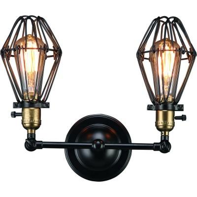 Светильник Divinare 2247/03 AP-2Лофт<br><br><br>Тип цоколя: E27<br>Цвет арматуры: черный<br>Количество ламп: 2<br>Ширина, мм: 150<br>Диаметр, мм мм: 340<br>Высота, мм: 300<br>MAX мощность ламп, Вт: 40