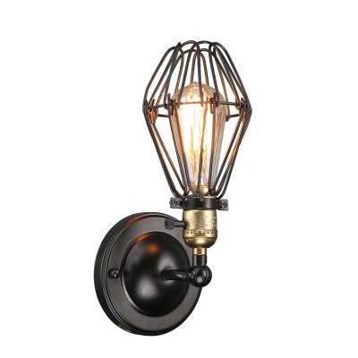 Светильник бра лофт Divinare 2247/03 AP-1бра в стиле лофт<br><br><br>Тип цоколя: E27<br>Цвет арматуры: черный<br>Количество ламп: 1<br>Ширина, мм: 140<br>Диаметр, мм мм: 130<br>Высота, мм: 300<br>MAX мощность ламп, Вт: 40
