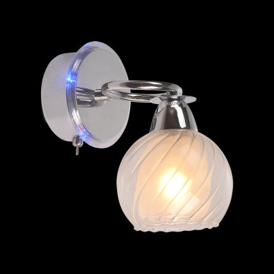 Светильник Idlamp 224/1A Chromeсовременные бра модерн<br><br><br>S освещ. до, м2: 4<br>Крепление: Настенные<br>Тип цоколя: Е14 + LED Blue<br>Цвет арматуры: серебристый<br>Количество ламп: 1 + LED Blue<br>Ширина, мм: 120<br>Расстояние от стены, мм: 210<br>Высота, мм: 200<br>Оттенок (цвет): белый<br>MAX мощность ламп, Вт: 60