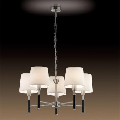 Люстра Odeon Light 2266/5 никель GlenПодвесные<br><br><br>Установка на натяжной потолок: Да<br>S освещ. до, м2: 13<br>Крепление: Планка<br>Тип товара: Люстра подвесная<br>Тип лампы: накаливания / энергосбережения / LED-светодиодная<br>Тип цоколя: E14<br>Количество ламп: 5<br>MAX мощность ламп, Вт: 40<br>Диаметр, мм мм: 740<br>Высота, мм: 490-1100<br>Цвет арматуры: серый