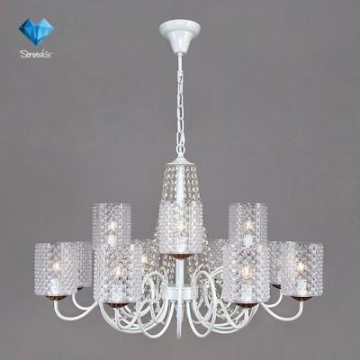 Люстра Bogateapos;s 227/12 StrotskisПодвесные<br><br><br>Установка на натяжной потолок: Да<br>S освещ. до, м2: 36<br>Крепление: Крюк<br>Тип товара: Люстра<br>Тип лампы: Накаливания / энергосбережения / светодиодная<br>Тип цоколя: E14<br>Количество ламп: 12<br>MAX мощность ламп, Вт: 60<br>Диаметр, мм мм: 910<br>Высота, мм: 537 - 980<br>Цвет арматуры: белый