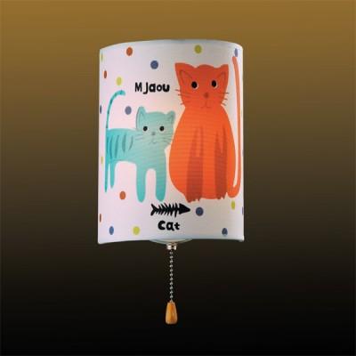 Светильник бра кошки Odeon Light 2279/1W белый CatsДля детской<br><br><br>S освещ. до, м2: 2<br>Тип лампы: накаливания / энергосбережения / LED-светодиодная<br>Тип цоколя: E14<br>Цвет арматуры: разноцветный<br>Количество ламп: 1<br>Ширина, мм: 150<br>Высота, мм: 200<br>MAX мощность ламп, Вт: 40
