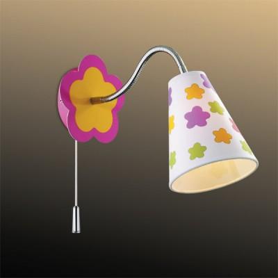 Светильник Odeon Light 2280/1W хром FlauДля детской<br><br><br>S освещ. до, м2: 2<br>Тип лампы: накаливания / энергосбережения / LED-светодиодная<br>Тип цоколя: E14<br>Количество ламп: 1<br>MAX мощность ламп, Вт: 40<br>Расстояние от стены, мм: 270<br>Высота, мм: 200<br>Цвет арматуры: разноцветный