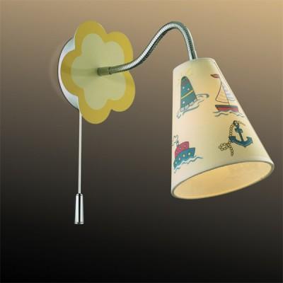 Светильник Odeon Light 2281/1W хром DreamДля детской<br><br><br>S освещ. до, м2: 2<br>Тип товара: Светильник настенный бра<br>Тип лампы: накаливания / энергосбережения / LED-светодиодная<br>Тип цоколя: E14<br>Количество ламп: 1<br>MAX мощность ламп, Вт: 40<br>Расстояние от стены, мм: 270<br>Высота, мм: 200<br>Цвет арматуры: разноцветный